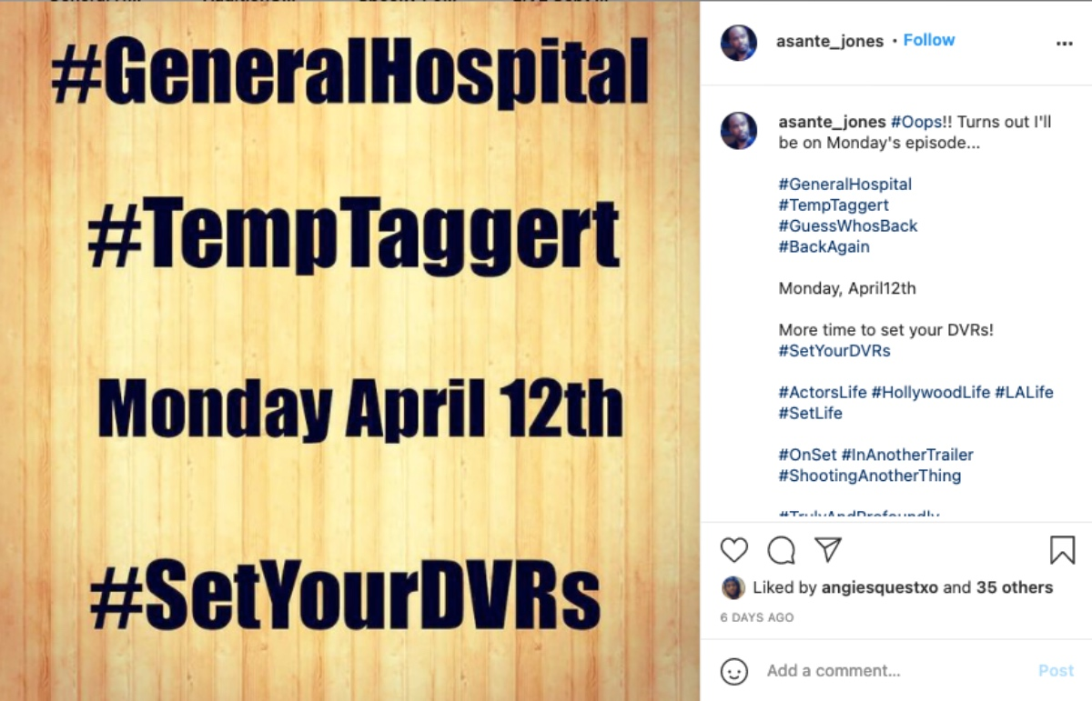 General Hospital (GH) Spoilers: Asante Jones Temporarily Fills in for Réal Andrews as Taggert